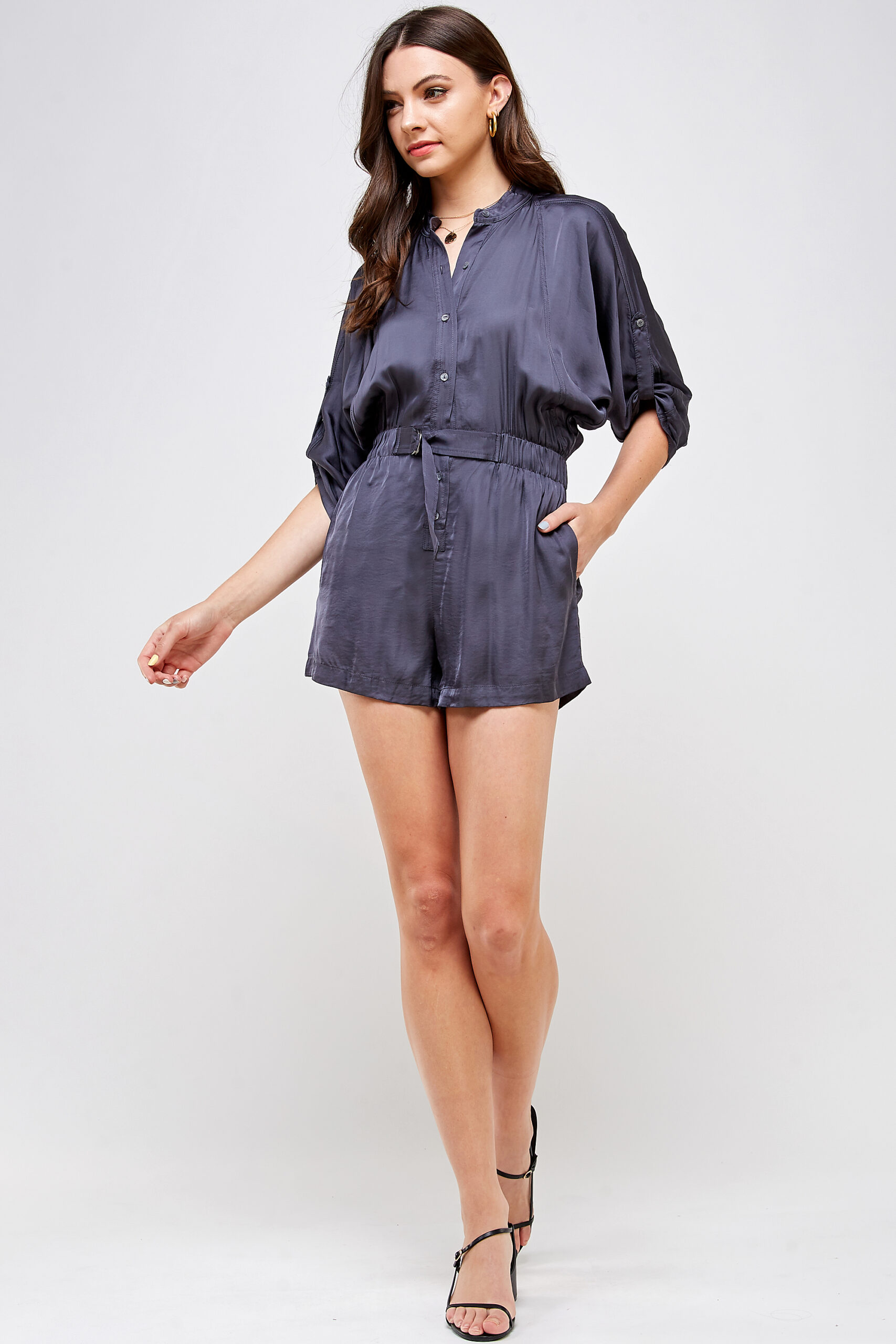 100% Polyester Belted Romper Roll Up Sleeves Button Up Front View Full