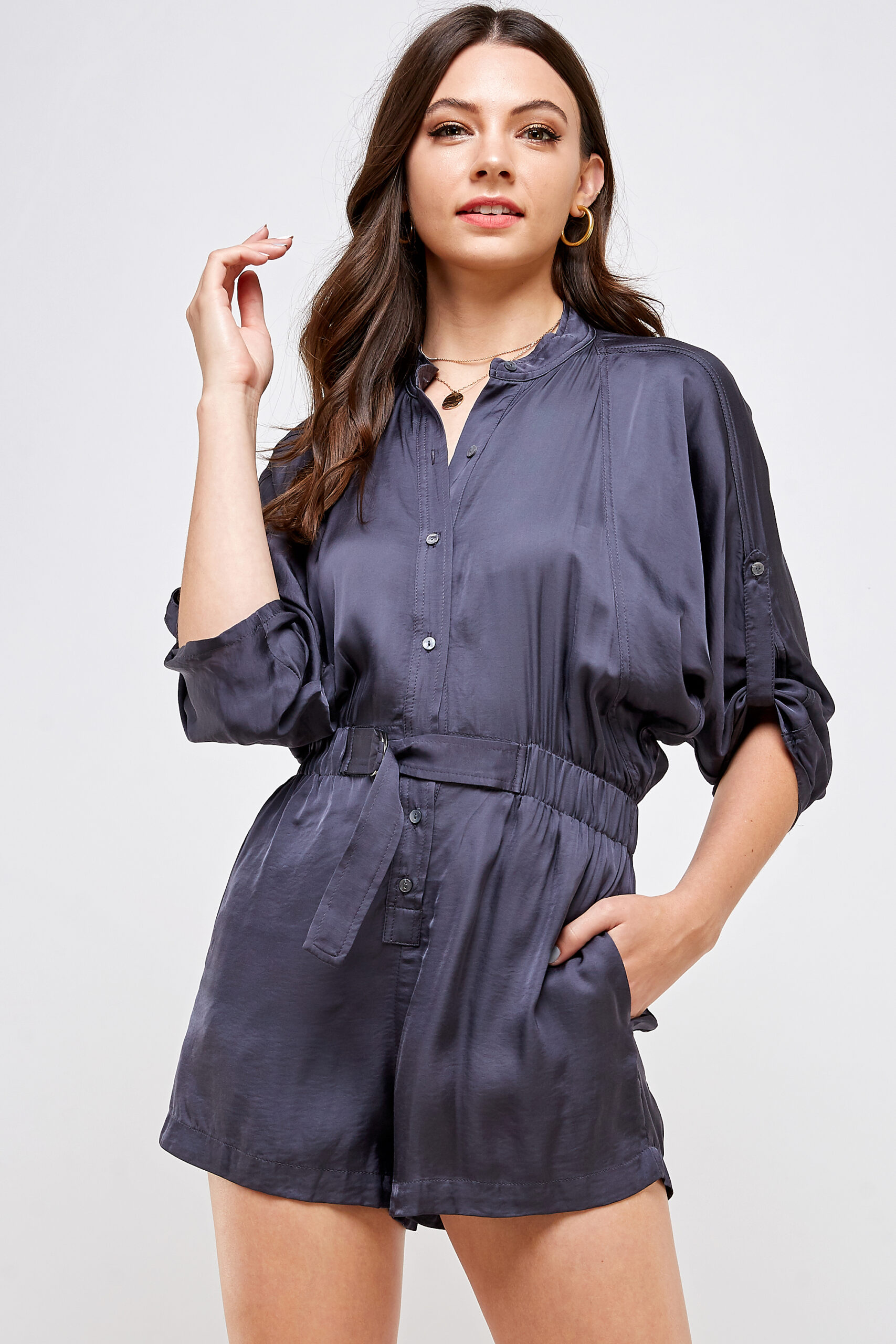 100% Polyester Belted Romper Roll Up Sleeves Button Up Front View Medium Third