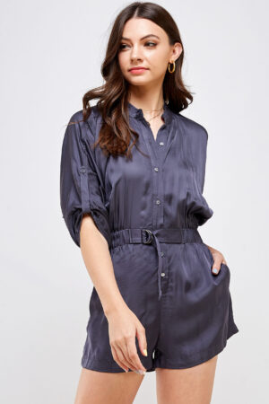 100% Polyester Belted Romper Roll Up Sleeves Button Up Front View Medium