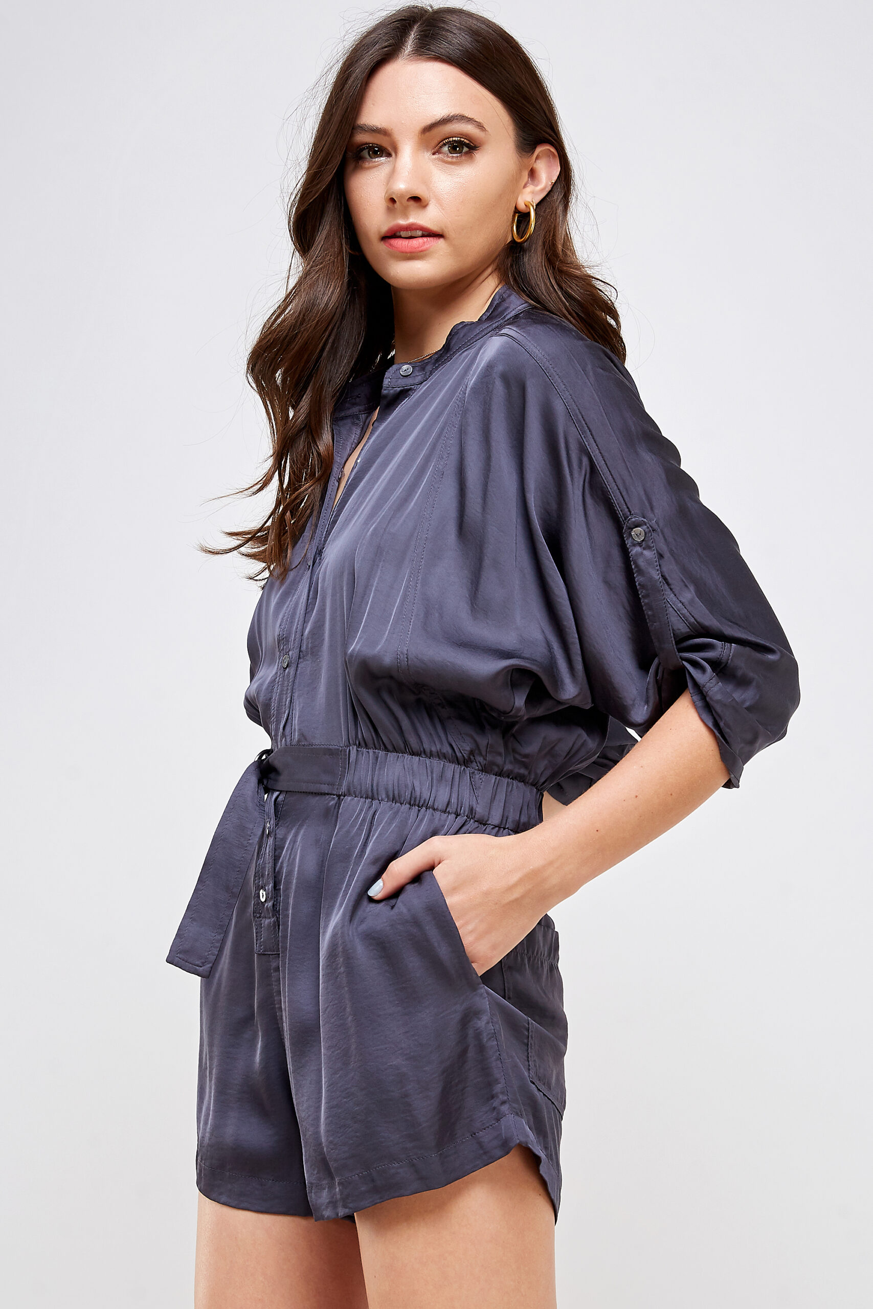100% Polyester Belted Romper Roll Up Sleeves Button Up Front Side View Medium