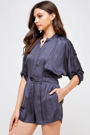 100% Polyester Belted Romper Roll Up Sleeves Button Up Front 3/4 Front View Medium Second