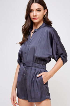 100% Polyester Belted Romper Roll Up Sleeves Button Up Front 3/4 Front View Medium