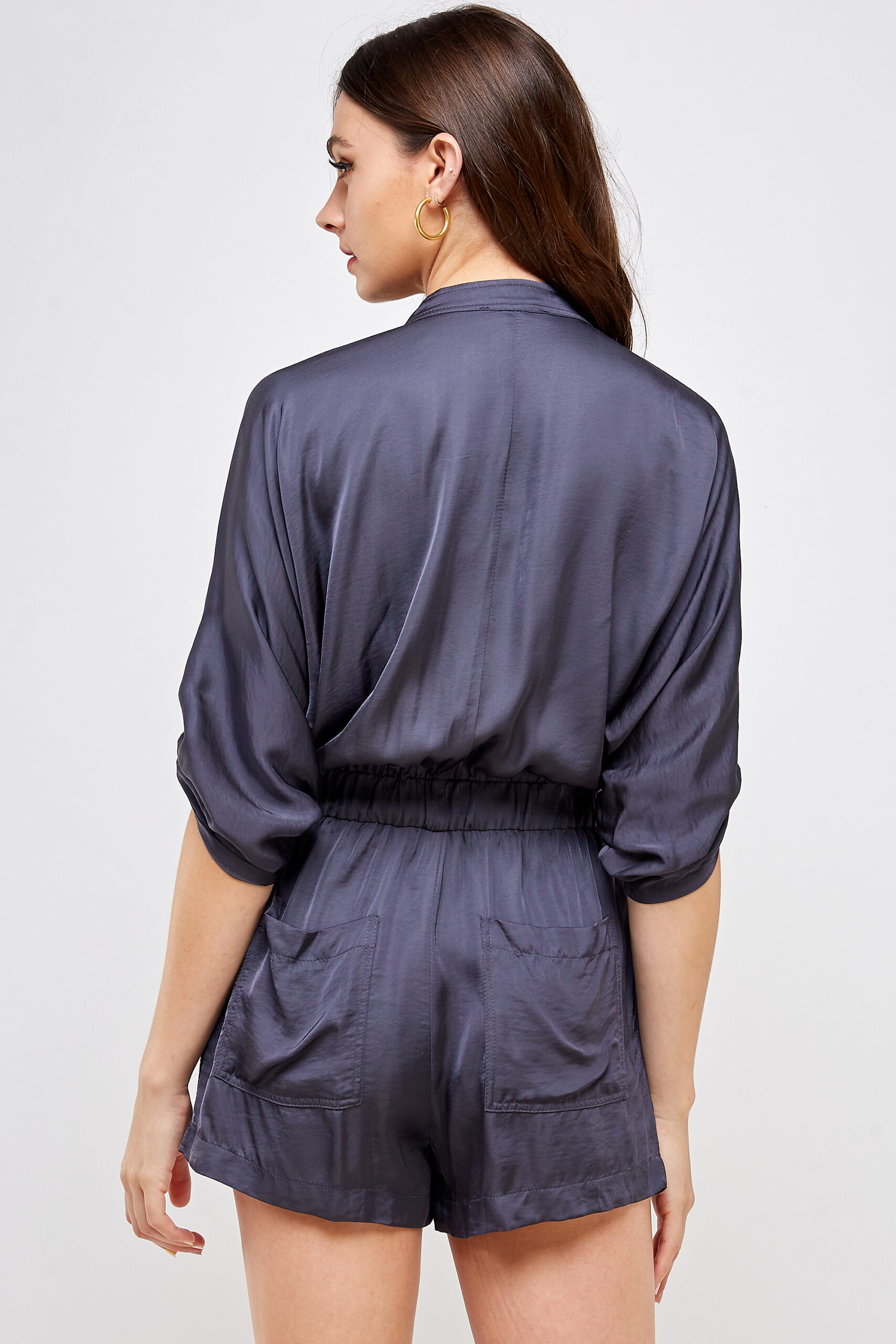 100% Polyester Belted Romper Roll Up Sleeves Button Up Front Back View