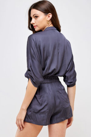100% Polyester Belted Romper Roll Up Sleeves Button Up Front 3/4 Back View