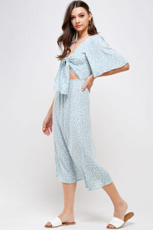 100% Rayon Tie Front Detail With Key Hole Elastic Waistband Open Back With Button Closure Side View