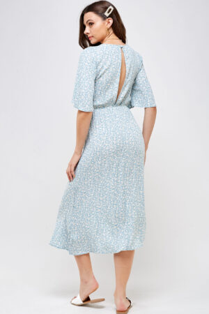 100% Rayon Tie Front Detail With Key Hole Elastic Waistband Open Back With Button Closure 3/4 Back View