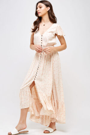 100% Rayon Flutter Sleeves Lightweight Button Front Detail High Low Hem 3/4 Front View Full Second