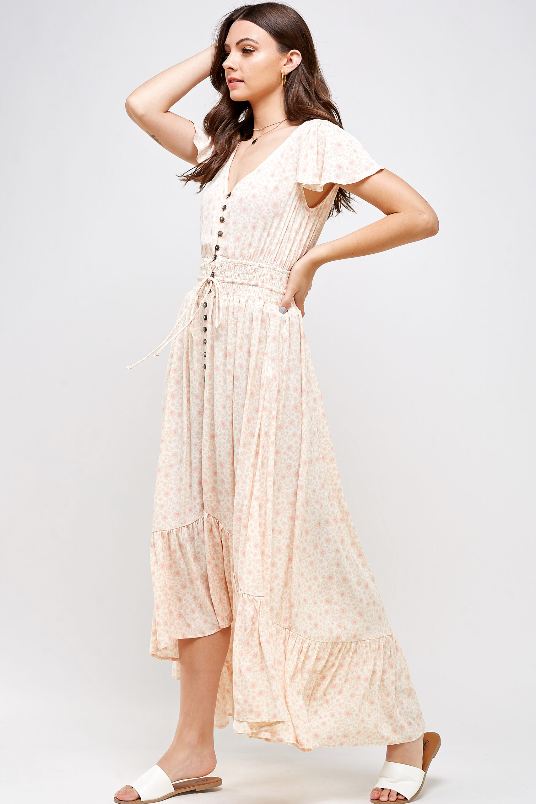 100% Rayon Flutter Sleeves Lightweight Button Front Detail High Low Hem 3/4 Front View Full