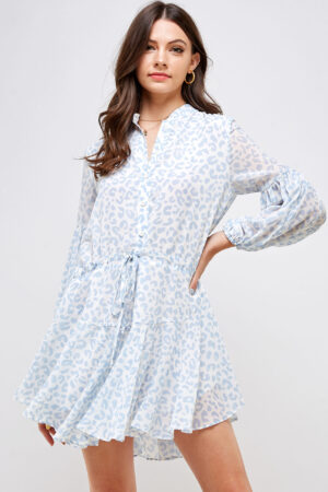 100% Polyester Relaxed Fit Adjustable Drawstring Waistband Long Balloon Sleeves with Elastic Sleeve Hems Ruffle Rounded Hemline Front Button Closure Front View Medium