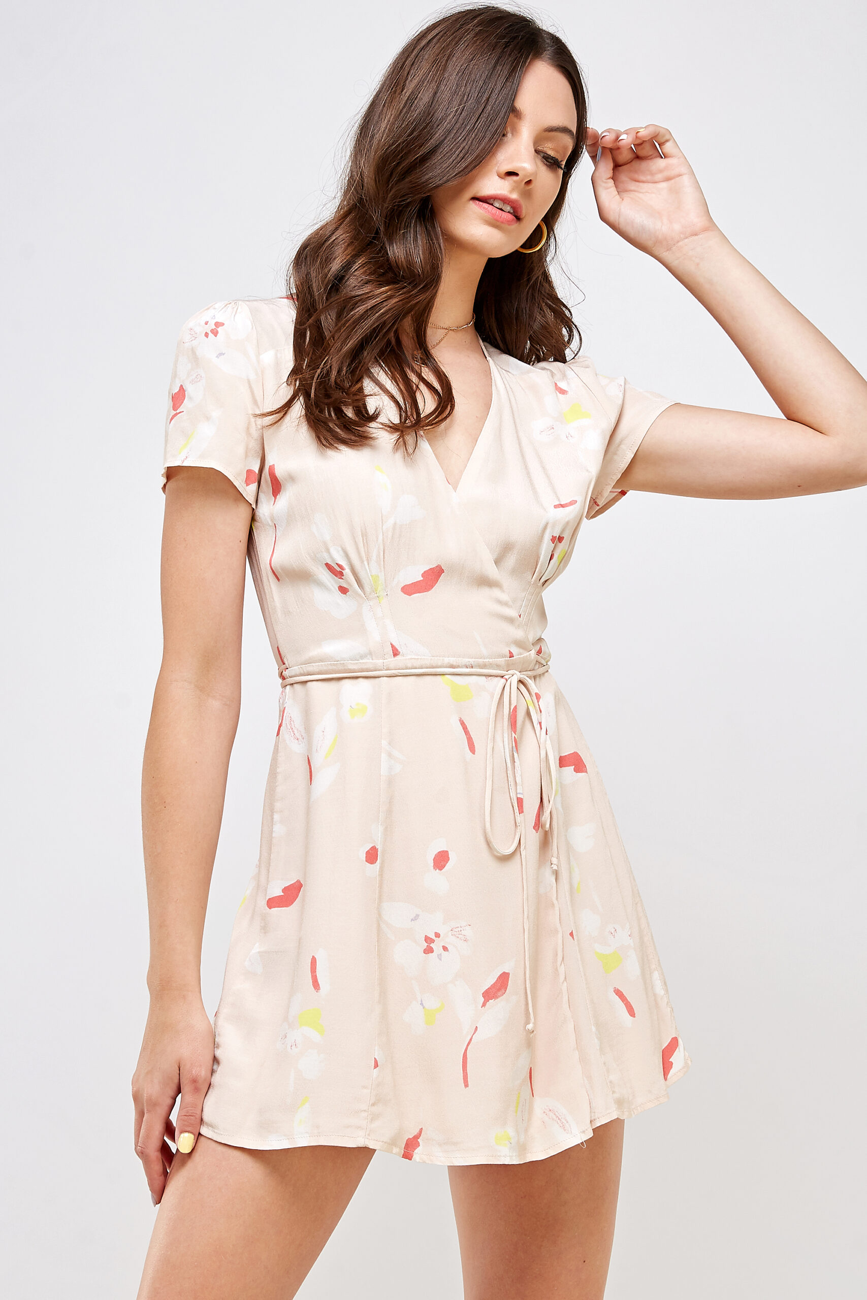 100% Rayon V-neck Belted Waist Front View Medium