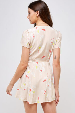 100% Rayon V-neck Belted Waist Back View
