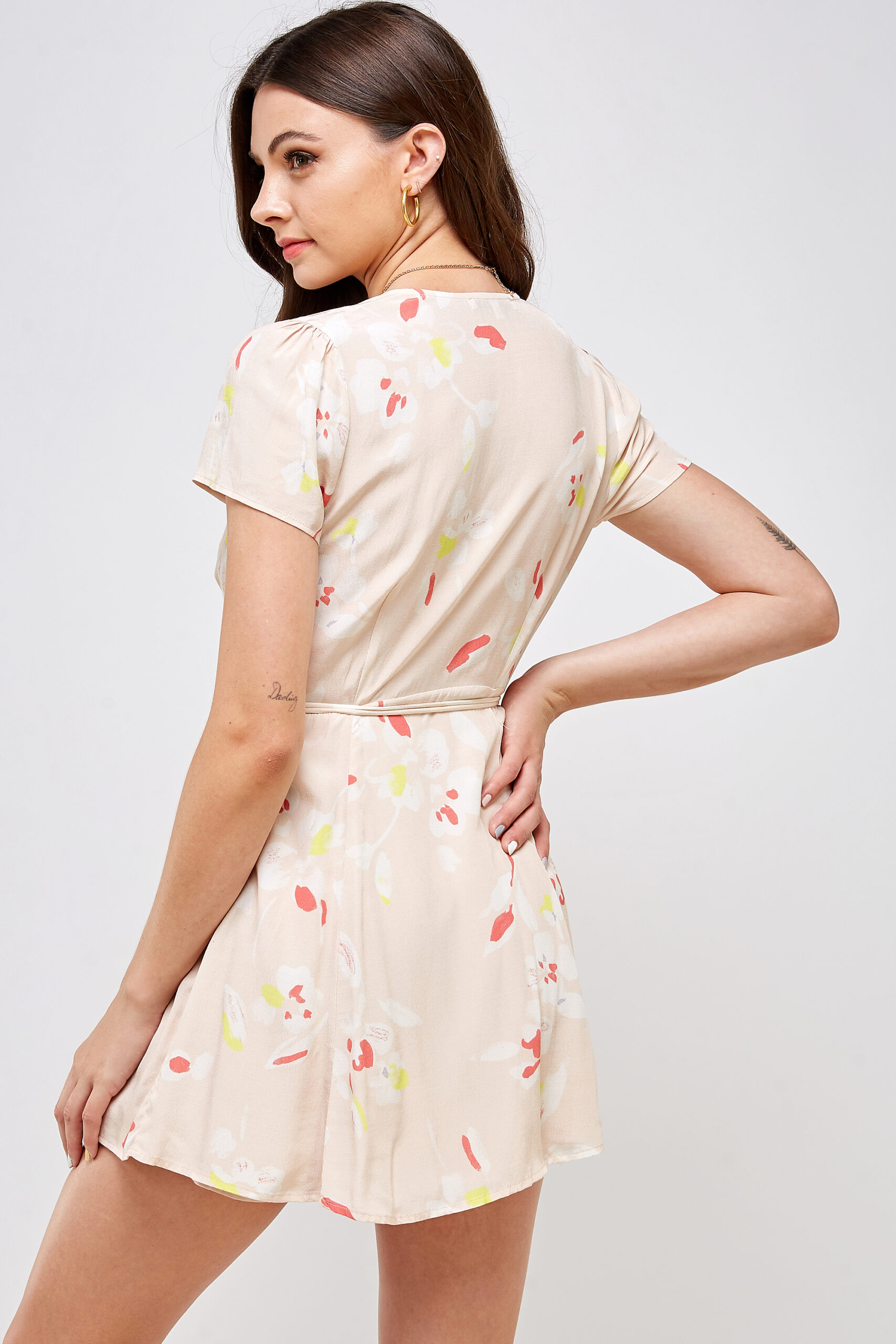100% Rayon V-neck Belted Waist 3/4 Back View