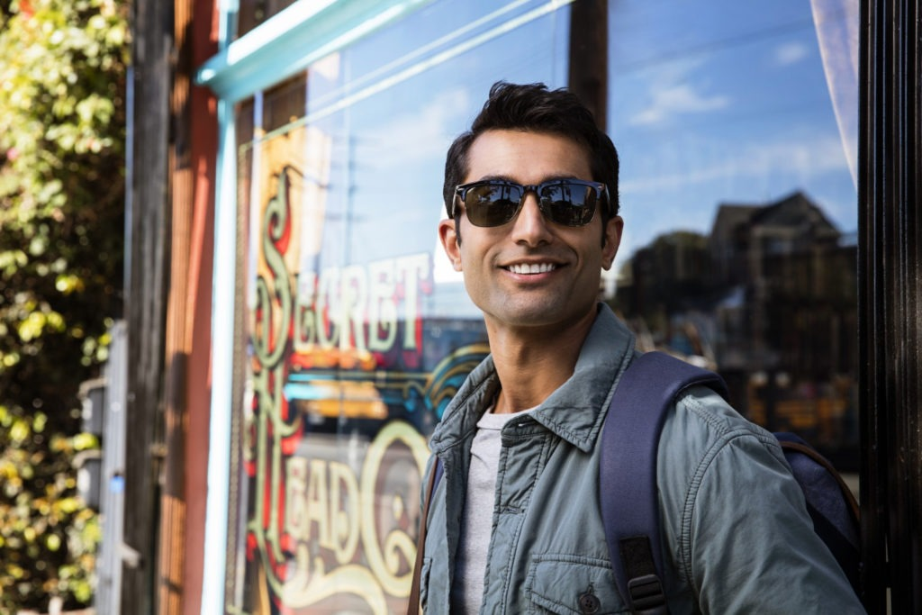 man smiling on a trip