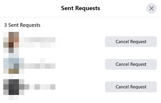 cancel pending Facebook friend requests