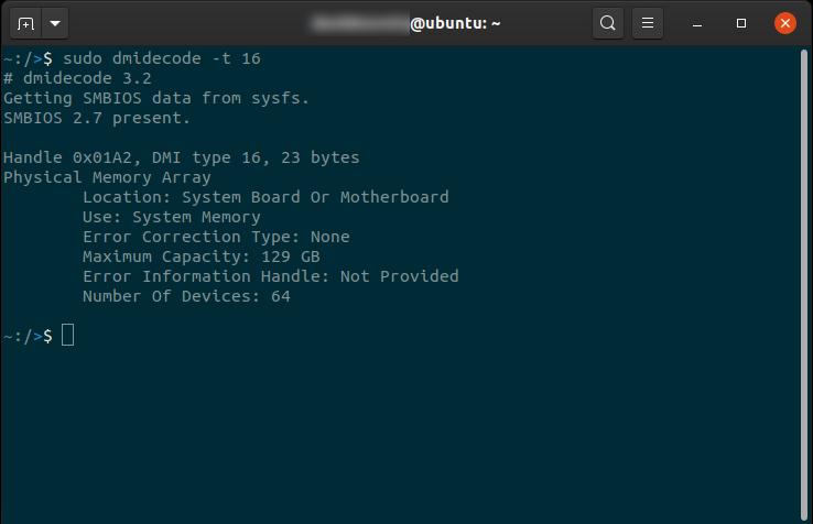 find maximum ram capacity linux