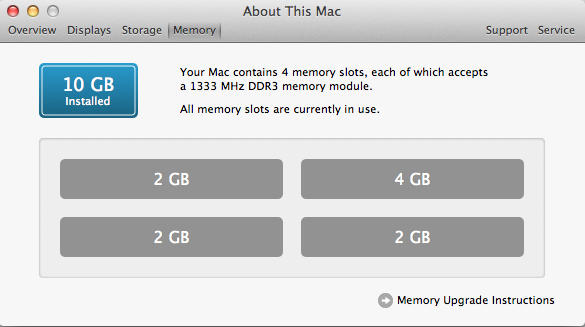 find maximum ram capacity mac os