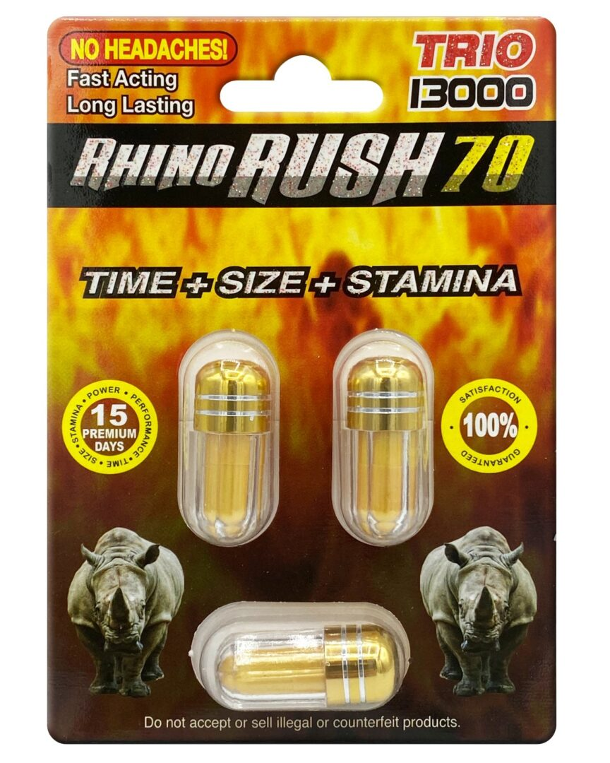 Rhino Rush 70 Trio 13000 Male Sexual Enhancer 3ct Pill Pack
