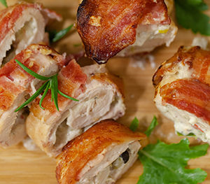 bacon wrapped olive salsa stuffed chicken