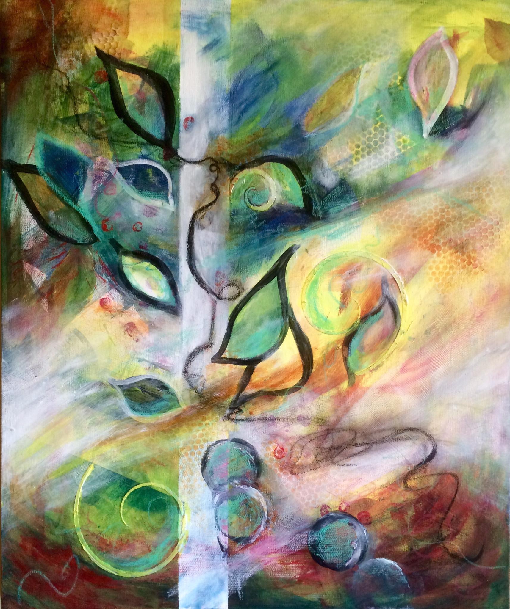 "Windblown - 24"" x 20"" Original Mixed Media on Canvas :: $295.00"