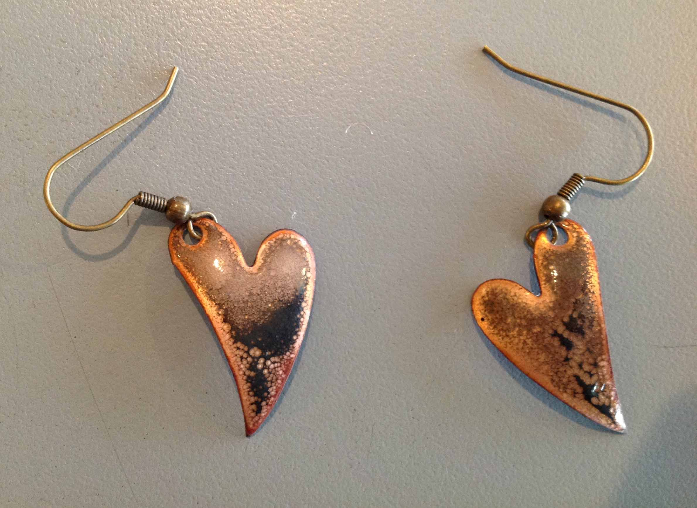 Rustic Copper Hearts - Original Torch Fired Jewelry (One of a Kind) :: $35.00 +shipping