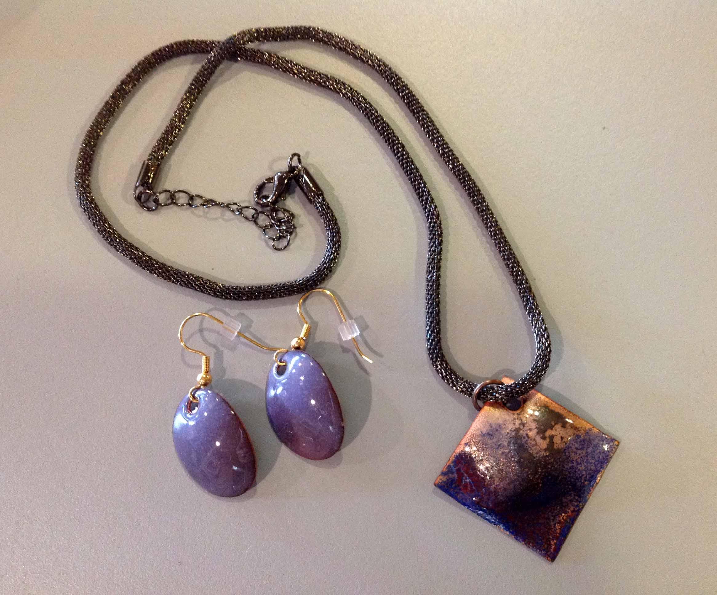 Purple Copper Necklace & Earring Set