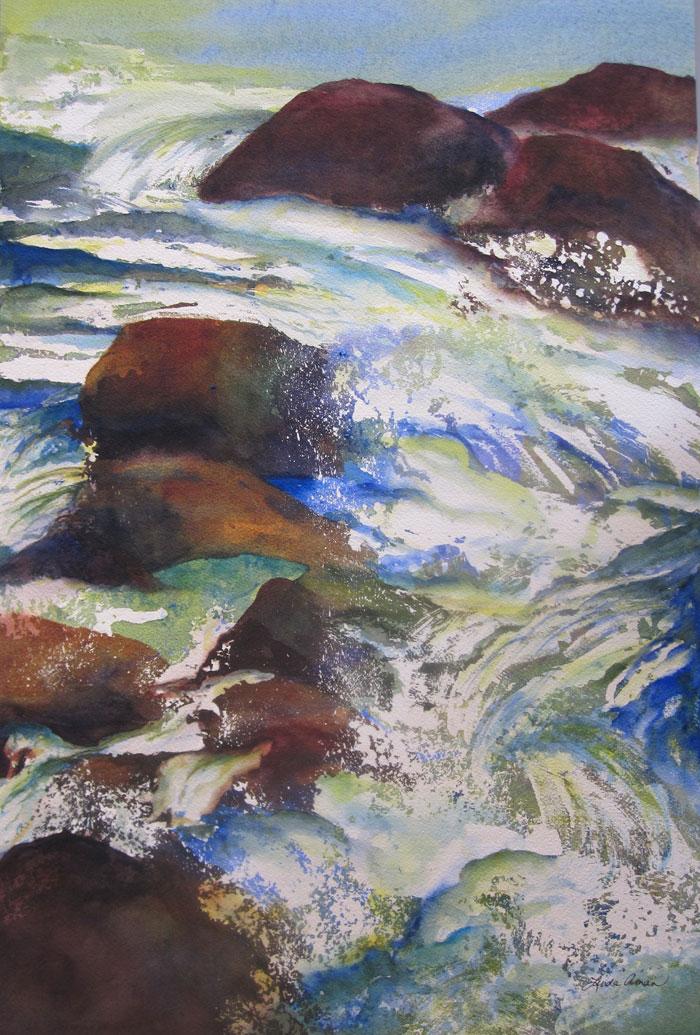 """Aqueous Sparkle - 23"""" x 30"""" Original Framed Watercolor :: $850"""