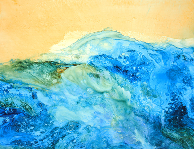 "Aqueous Turbulence - 29"" x 21"" Original Framed Acrylic :: $450.00"