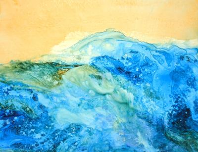"""Aqueous Turbulence - 29"""" x 21"""" Original Framed Acrylic :: $450.00"""