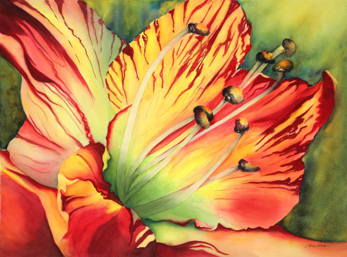 "Amaryllis Celebration - 33"" x 40"" Original Watercolor :: SOLD"