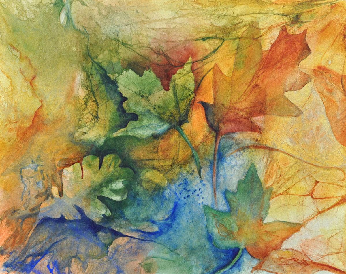 Autumns Near – 16″ x 18″ Original Framed Watercolor on Aquabord :: $350