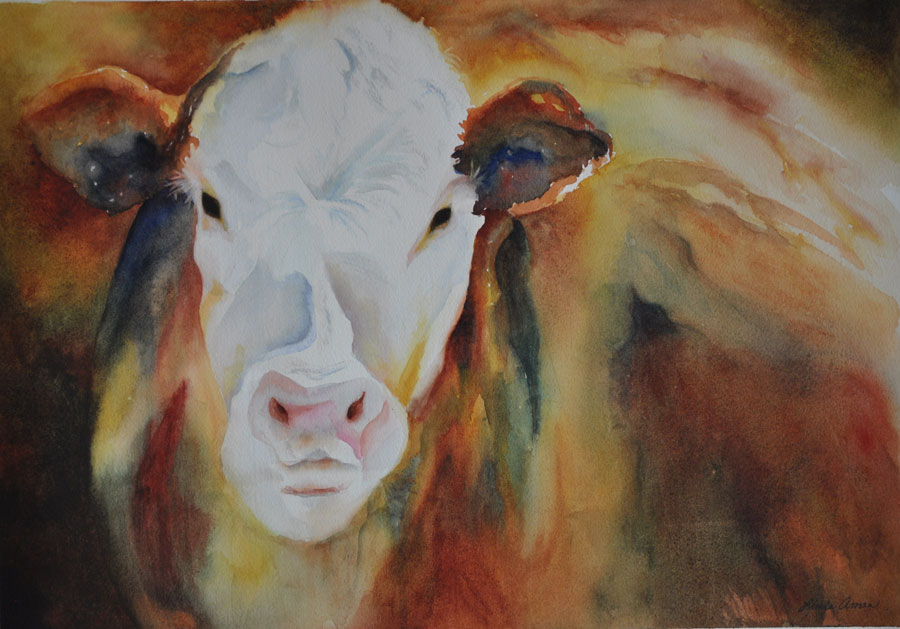 "Big Red - 25"" x 31"" Original Framed Watercolor :: SOLD"