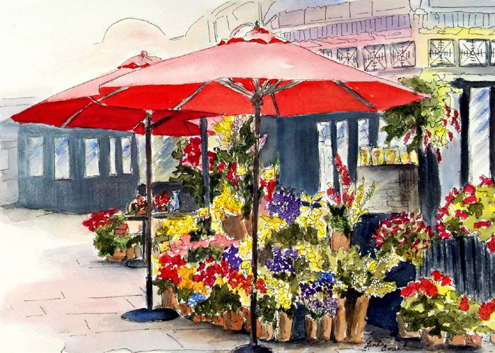 """Bridgeport - 19"""" x 17"""" Original Framed Watercolor :: SOLD"""
