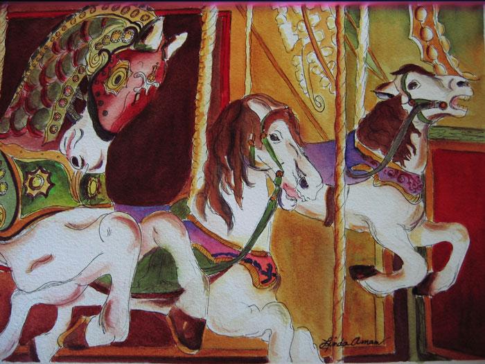 """City Horses - 34"""" x 42"""" Original Framed Watercolor :: $285"""