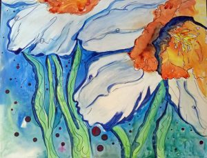"Daffodil Ocean - 27"" x 33"" Matted Ready to Frame Original Watercolor on Yupo Paper :: $395.00"