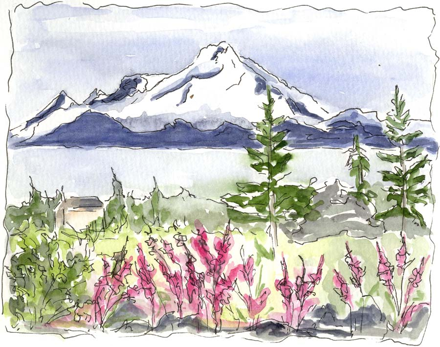 Denali -- Original Pen with Watercolor