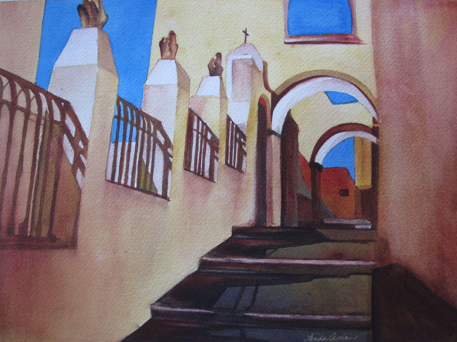 Experience Greece – 23″ x 19″ Original Framed Watercolor :: $350