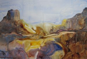 Golden Glows – 21″ x 28″ Original Framed Watercolor :: $450.00
