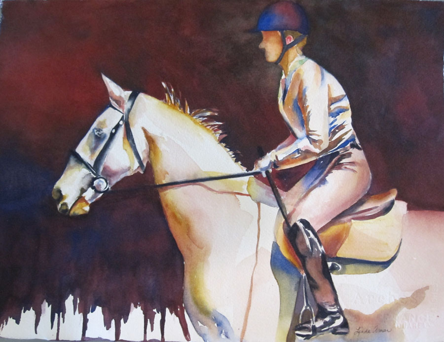 "Horse and Rider - 20""x 16"" Original Matted Watercolor :: $200"