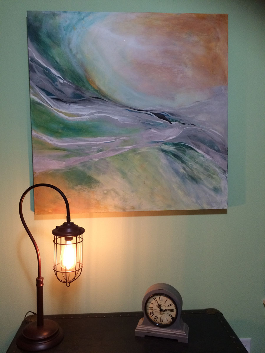 """Whispers"" in home setting - Canvas 36″ x 36″ – $650"