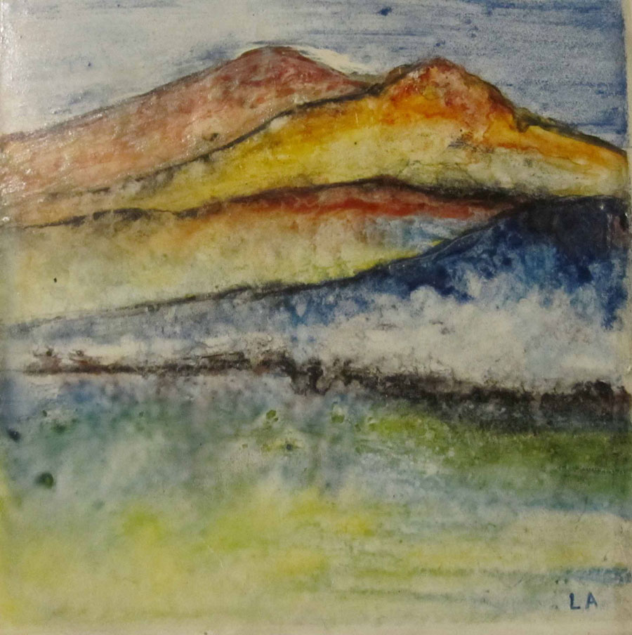 "Landscape -6"" x 6"" Original Fired Steel Painting :: $150.00"