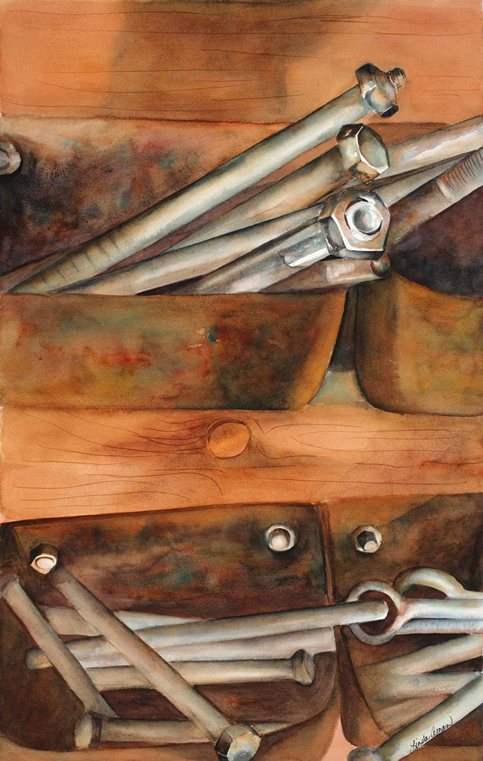 Nuts and Bolts – 31″ x 25″ Original Framed Watercolor :: $850
