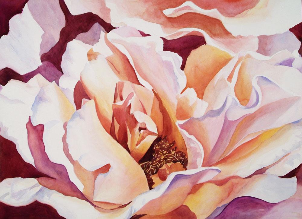 "Peach Petals - 22"" x 30"" Original Watercolor on Cradled Claybord :: $1000.00"