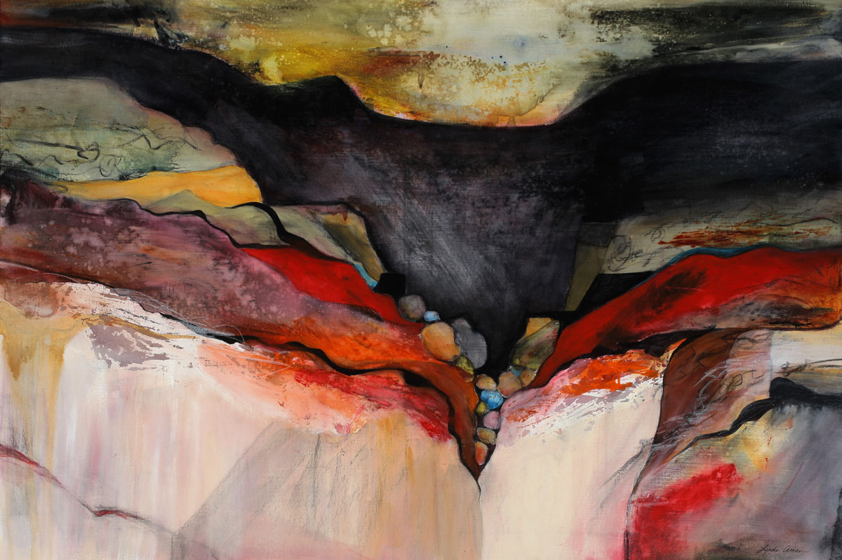 "Raven's Canyon – 30"" x 42"" Original Framed Acrylic :: $1000.00"
