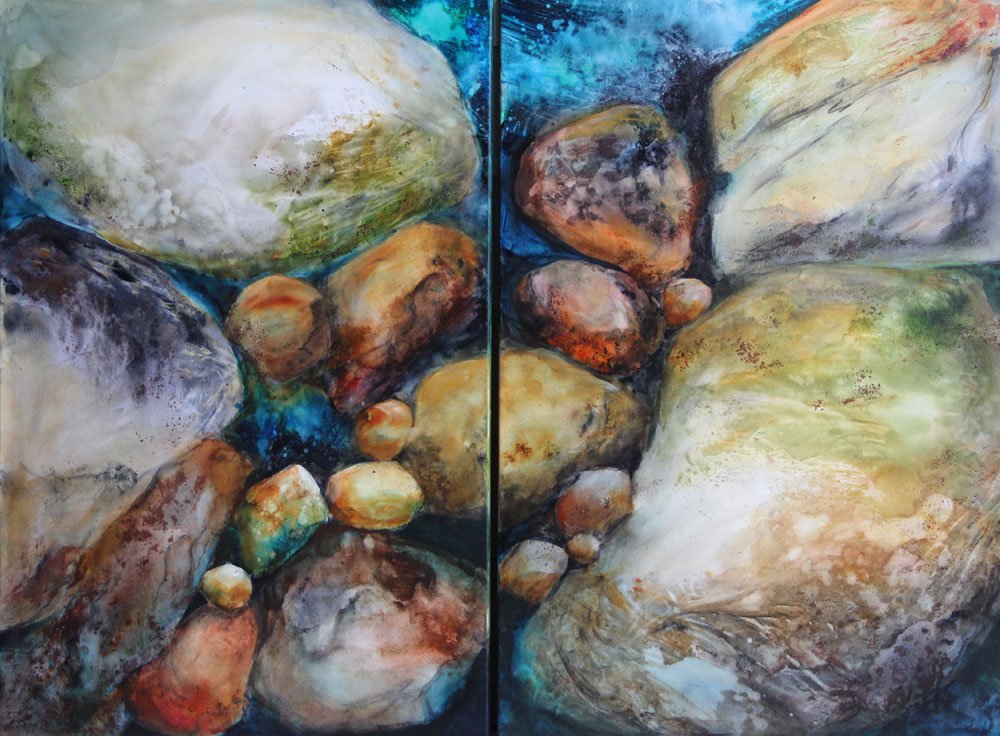 """Rocks Two – Two Painting Panels 36"""" x 24"""" each – Original Acrylic on Wrapped Canvas :: $1000.00 — Set"""