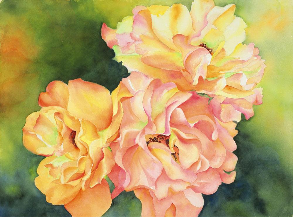 "Roses in Full Bloom - 32"" x 40"" Original Watercolor Matted & Framed :: $850.00"