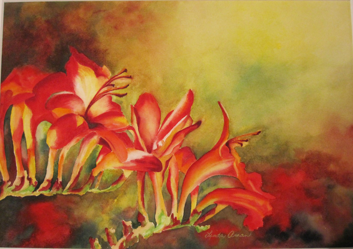 """Trailing Red – 18"""" x 22"""" Original Framed Watercolor :: $425.00"""