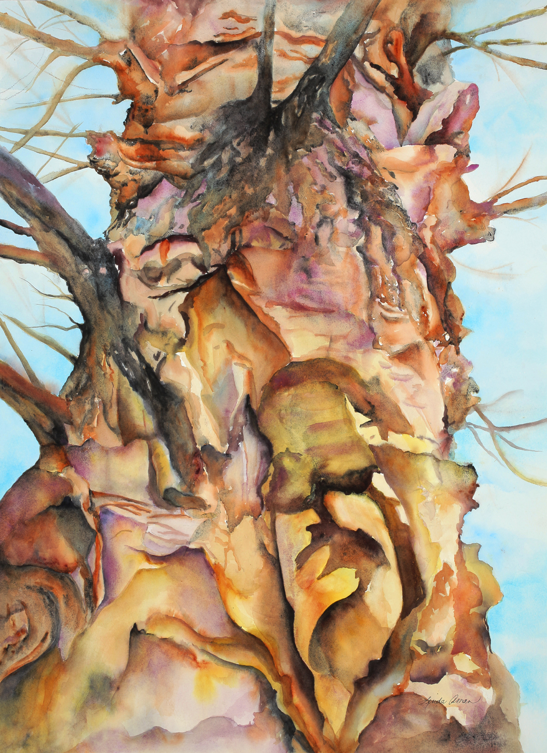 "Tree Embraced – 40"" x 32"" Original Framed Watercolor :: $850.00"