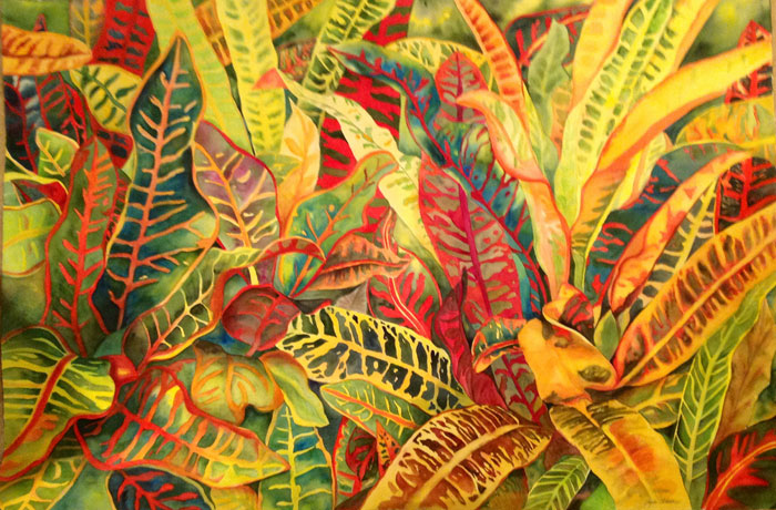 Tropical Paradise – 40″ x 60″ Original Framed Watercolor :: $4,500