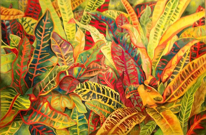 Tropical Paradise – 40″ x 60″ Original Framed Watercolor :: $4,500