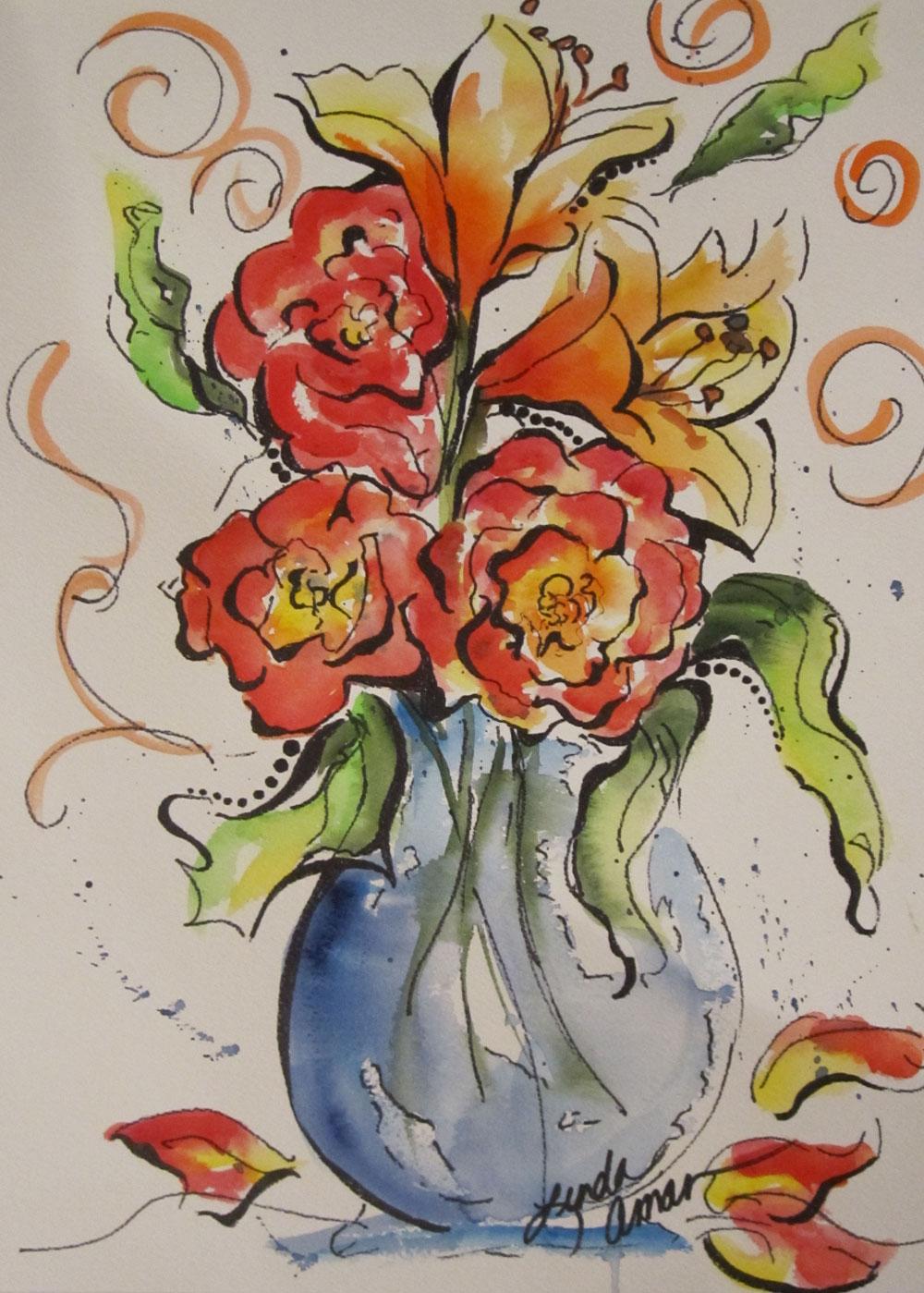 Vase of Sunshine - Original Watercolor :: NFS